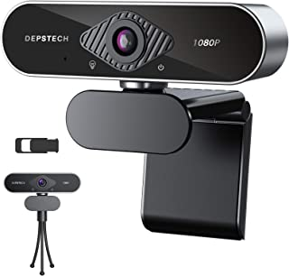 Webcam with Microphone, DEPSTECH 1080P HD Webcam with Auto Light Correction for Desktop/Laptop, Streaming Computer USB Web...