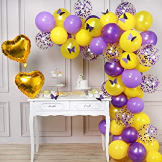PartyWoo Butterfly Party Balloons, 82pcs Balloon Set of Butterfly Stickers Gold Mylar Balloons Pale Purple Balloons Confetti Balloons Pale Yellow Balloons for Garden Party and Butterfly Themed Party