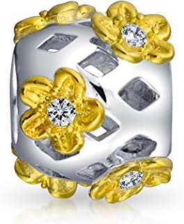 3589eb0b1 Flower Daisy Cutout CZ Barrel Charm Bead For Women Two Tone 14K Gold Plated  Sterling Silver