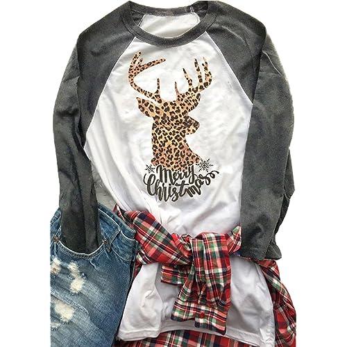 dbe7752c35f JINTING Plus Size Merry Christmas Graphic Tee Shirts for Womens Christmas  Raglan Baseball Shirt Tee Top