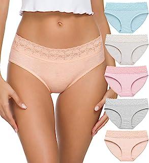 Cotton Panties for Women Bikini Underwear Hipster Underpants Lace Briefs Pack