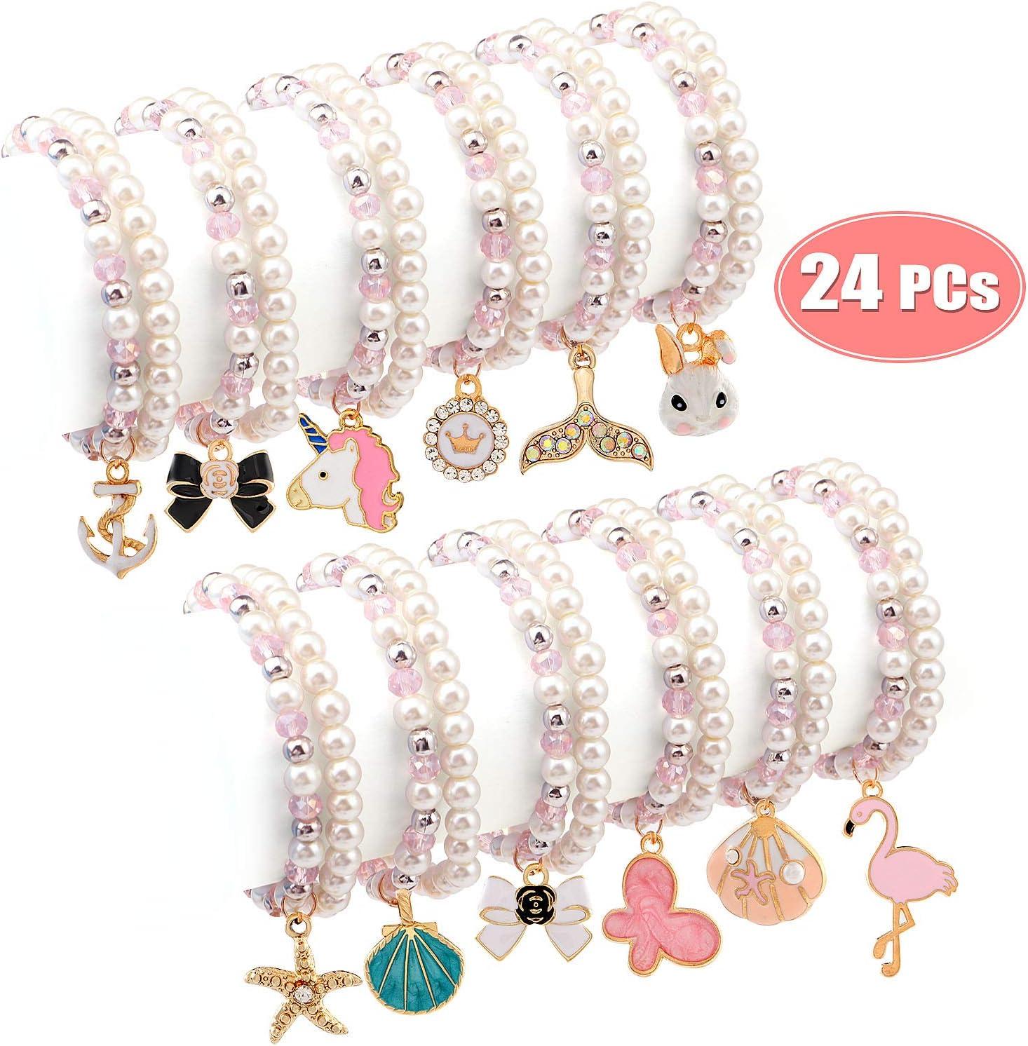 Bracelets for Teen Girls Tucson Mall Pearl Pink Penda Beaded Animals Unicorn Max 82% OFF