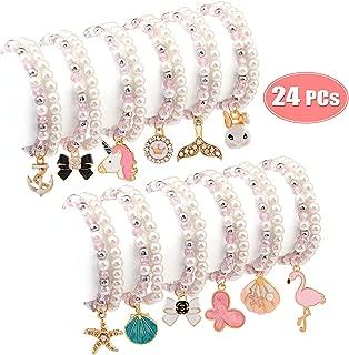 Bascolor Bracelets for Teen Girls Pearl Pink Beaded Unicorn Animals Pendant Toddler Bracelets Crystal Party Favor Costume Kids Jewelry Princess Pretend Play Bracelets for Girls