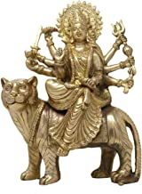 Goddess Durga Statue Brass Sculpture Art Indian Decor Hindu Puja Idol Religious Items for Home Temple 12 Inch
