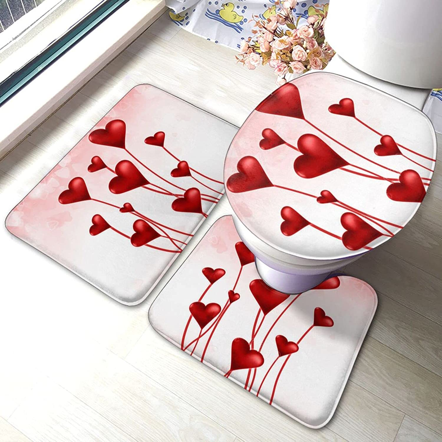 Valentines Day Gifts Max 47% OFF Heart Shape Balloon Print 3 Rugs Bathroom Pie Set