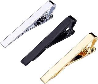 Mudder 3 Pezzi Fermacravatta da Uomo Spille Cravatta Set di Seta Tie Clip, Argento, Nero e Oro