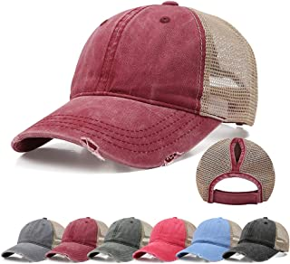 Ponytail Baseball Cap Retro Washed Cotton Visor Dad Hat Adjustable Trucker Ponycaps