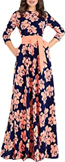 AOOKSMERY Women's Elegant Floral Print 3/4 Sleeve Pleated Dress Casual Swing Maxi Dresses with Belt
