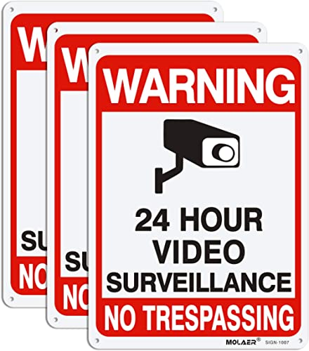 "Video Surveillance Sign, MOLAER 3-Pack No Trespassing Signs, 10"" x 7"" UV Printed Waterproof Reflective 40 Aluminum Ma..."