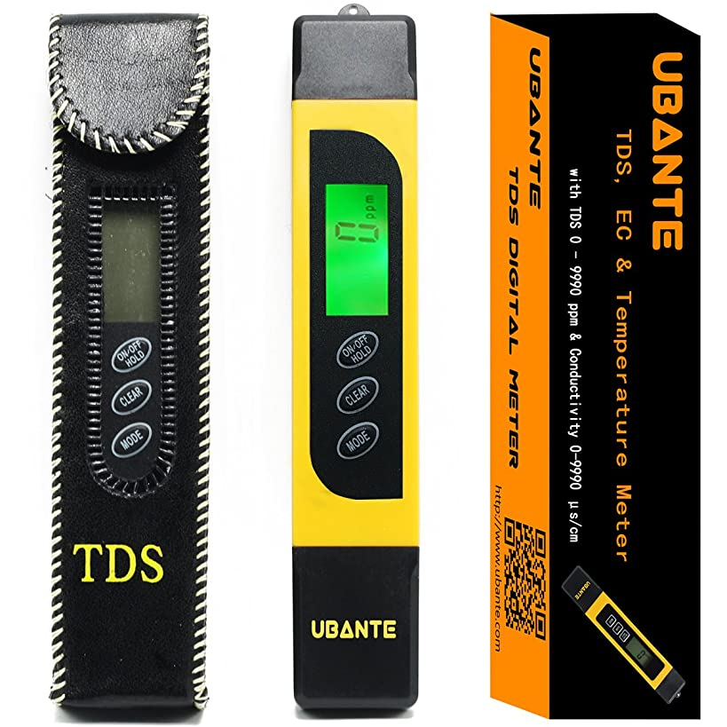 UBANTE Professional Quality TDS, EC & Temperature Meter, Water Quality Test Meter,0-9990ppm.Accurate and Reliable Water Test Meter. Ideal for Drinking Water, Aquariums. (Yellow)