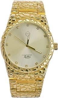 Techno Pave Hip Hop Plain Nugget 14K Gold Metal Band Watches WM 8364 G