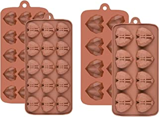 UTD Two Set Pinata Mold Eight Cavity and Fifteen Cavity Diamond Heart Silicone Molds for Chocolate - Small and Mini Heart ...