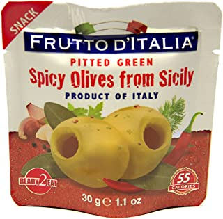 Green Spicy Pitted Olives in Pouch, 1.1 Ounce (Pack of 10)