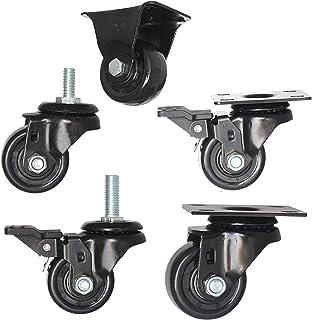 LKLXJ Heavy Duty Caster met rem, Industriële wielen, Gegalvaniseerd oppervlak, Schroefstam, Soepel & Stil, Dubbele kogella...