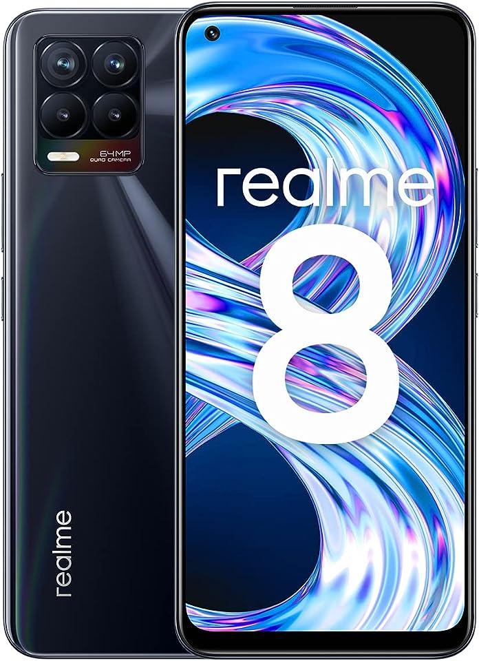realme 8 Smartphone ohne Vertrag, 64MP AI-Quad-Kamera Android Handy, 6,4Zoll Super AMOLED Display, 30W Dart Charge, Starker 5000mAh Akku, Dual Sim, NFC, 4+64GB, Punk Black