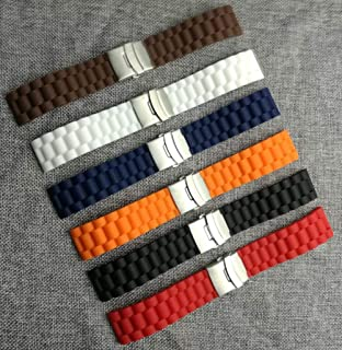 for New Waterproof 6 Colors Silicone Rubber Watch Wrist Watch Strap Band Replacement 22mm 24mm,000 LB Rating,24mm Orange