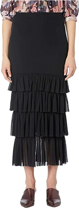 Solid Black Ruffle Skirt