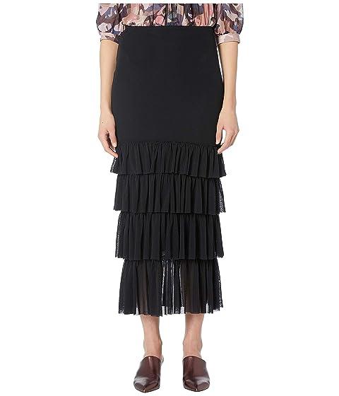 FUZZI Solid Black Ruffle Skirt
