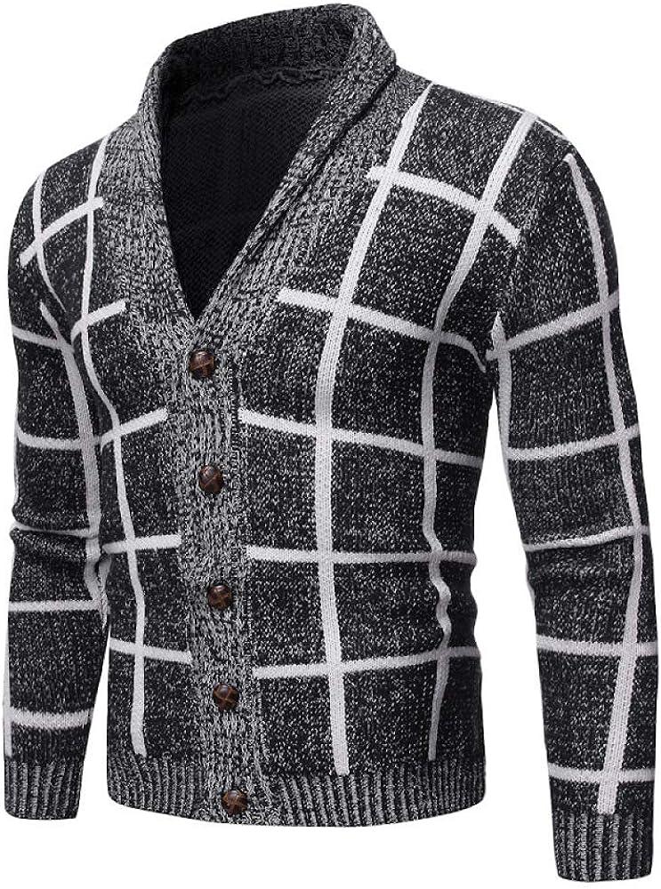 Men's Cardigan Fall Winter Sweater Fashion Casual V-Neck Sweater Knitwear