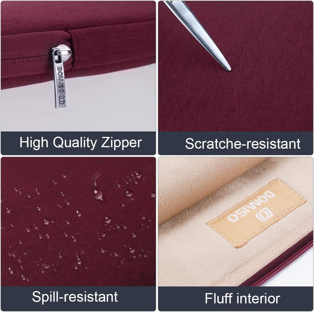 DOMISO 17 Inch Water-Resistant Laptop Sleeve Notebook Carrying Case Bag for 17.3 Computers//Lenovo//Acer//ASUS//HP//Dell//Toshiba Wine Red
