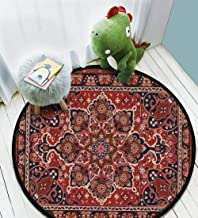 Persian carpet tribal vector texture Easy to edit and change a few Waterproof Non-slip Not Easy To Dirty Home Study Bedroom Home Decoration Beautiful And Generous Carpet Round Area Rug diameter 4ft