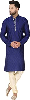 SKAVIJ Men's Tunic Kurta Pajama Set Indian Traditional Wear