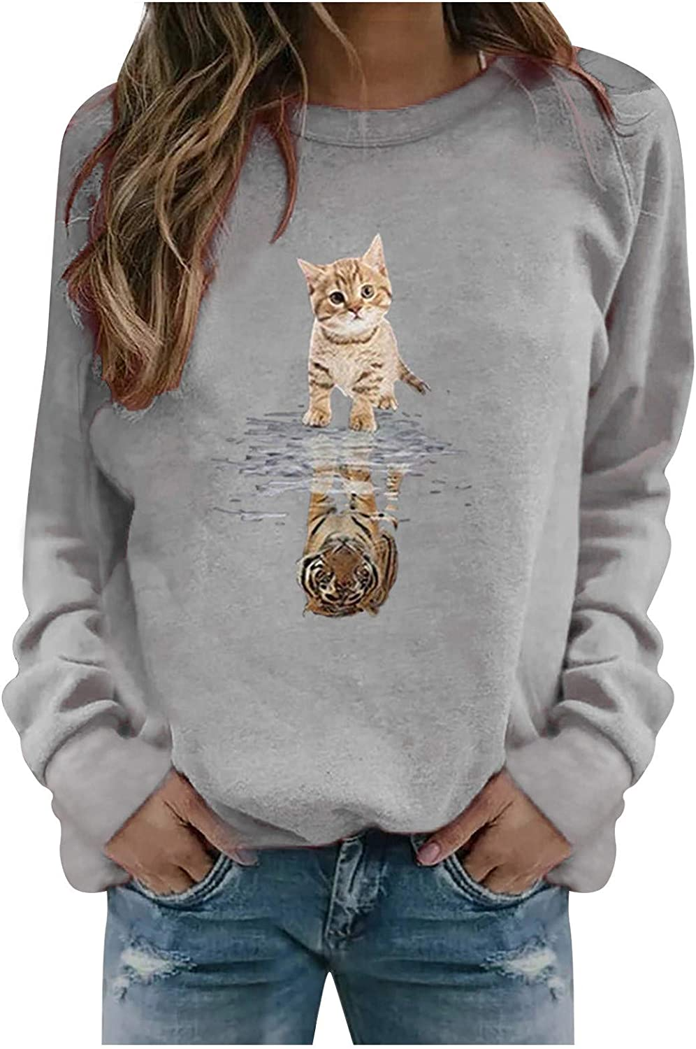 Excellence NEW before selling Eoailr Women's Crewneck Sweatshirt Fall Loose Long Shirts Sleeve
