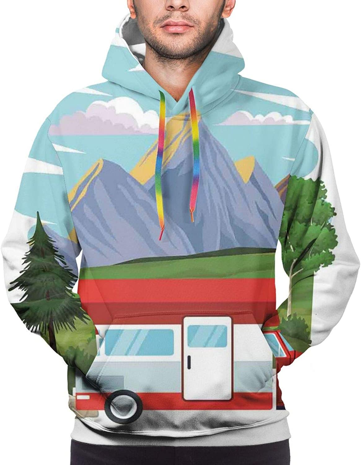 Men's Hoodies Sweatshirts,Car Racing Speedy Inspired Illustration Need for Speed Road Competition Motorsports Theme