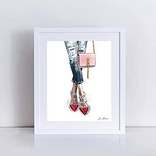 Red Rockstud Heels and Kate Monogram Bag Art Print of Watercolor Painting