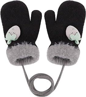قفازات شتوية للأطفال دافئة للأولاد والبنات مصنوعة من الصوف مع خيط