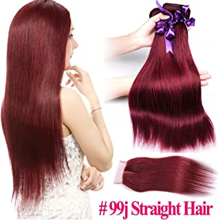 Pre-Colored Wine Red 99J Straighgt Brazilian Hair Weave 3 Bundles With Closure Bold Burgundy Thick Remy Human Hair 100% Unprocessed Virgin Hair Extensions (22 24 26+20 middle part closure)