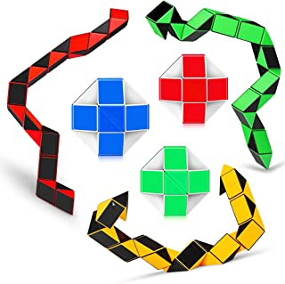 Ganowo 6PCS Big Size Snake Cube Fidget Sensory Toy Ruler Twisty Puzzle Brain Teaser Game for Kids Halloween Party Favors Goodie Bags Fillers