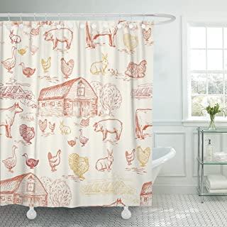 TOMPOP Shower Curtain Hen Farm Animals Cows Geese Chickens Pigs Turkey House Waterproof Polyester Fabric 72 x 72 Inches Set with Hooks