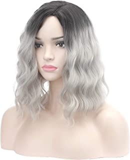 Jesban Ombre Wig for Women, Off Black Ombre Gray Silver Wig Short Curly Bob Wigs for Cosplay Costume Synthetic Fiber Dark Root Wigs with Wig Cap (Gray Silver)
