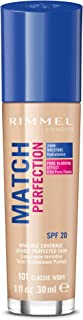 Rimmel London Match Perfection Foundation Base de Maquillaje Tono 101 Classic Ivory - 30 ml