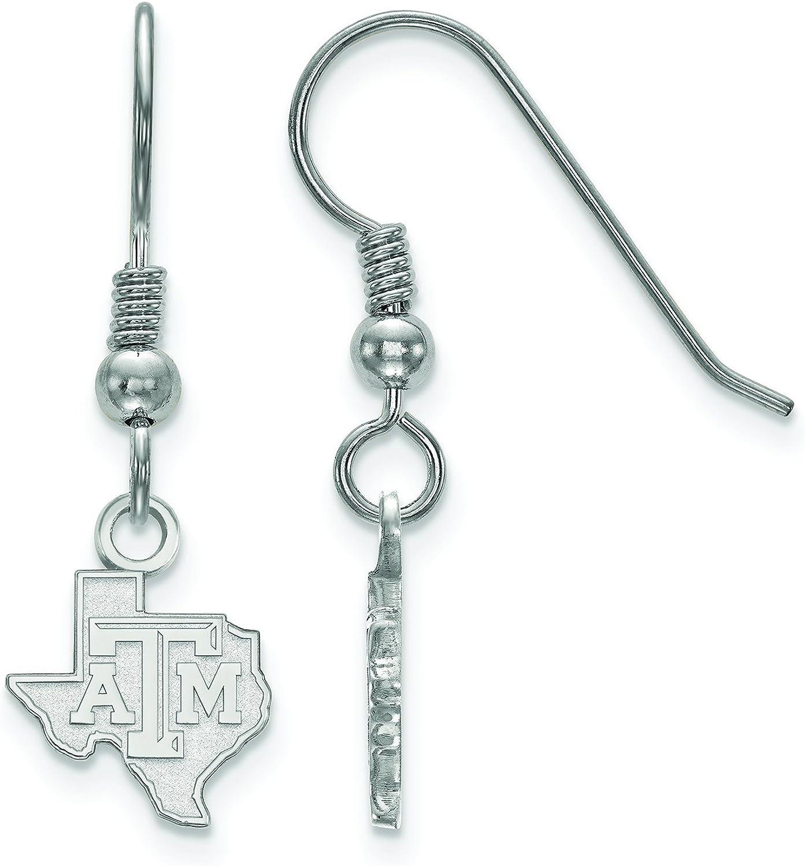 LogoArt SS044TAM Sterling Silver Texas A&M University Extra Small Dangle Earrings