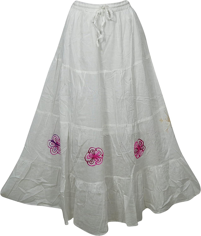 Indiatrendzs Women's Maxi Skirt White Cotton Gauze Embroidered Summer Skirts M/L