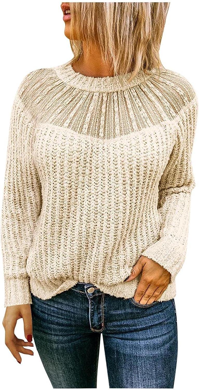 Long Sleeve Casual T Shirts Ladies Fashion Round Neck Lace Stitching Raglan Long Sleeve Sweater