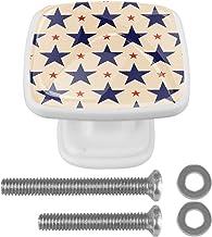 Blauwe Rode Sterren 4 Stks Witte Lade Trekt Handvat 30mm met Schroeven Vierkante Kast Deurknoppen voor Kast Kaptafel