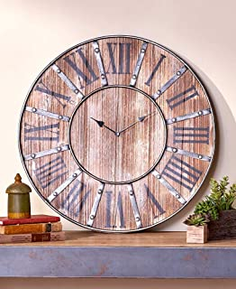 The Lakeside Collection Rustic Farmhouse Clock - Distressed Wood Finish and Studded Metal Overlay