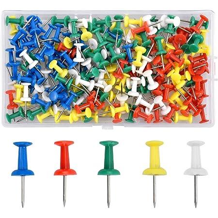 180pcs Wooden Head Push Pins Drawing Pins Thumbtack for Notice Message Board