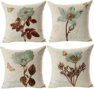comprar comparacion Gspirit 4 Pack Retro Flor Algodón Lino Throw Pillow Case Funda de Almohada para Cojín 45x45 cm