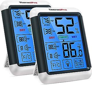 دماسنج دماسنج داخلی دماسنج داخلی دیجیتال دماسنج دماسنج دیجیتال ThermoPro TP55 2 نمایشگر با صفحه لمسی جامبو و مانیتور رطوبت دمای نور پس زمینه