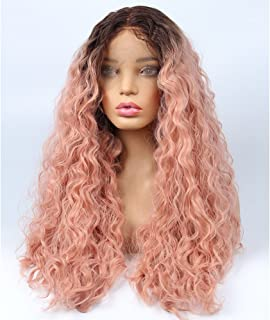 vvBing Long Curly Lace Front Wig Synthetic 2 Tones Auburn Ombre Dark Roots to Auburn Wig Glueless Wave Hair Heat Resistant Fibers Middle Parting Hair Wave Wigs 24Inch