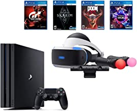 PlayStation PS4 Pro Bundle (6 Items): VR Starter Bundle, PS4 Pro 1TB Console= Jet Black, 4 Game Discs: Gran Turismo Sport, Skyrim, Doom, and VR Worlds