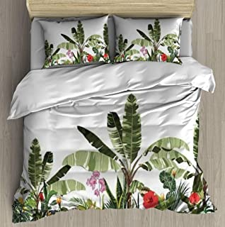 Soft Printed Bedding Set Tropical botanical landscape palm tree banana tree plant floral Duvet Cover Pillow Case Pattern D...