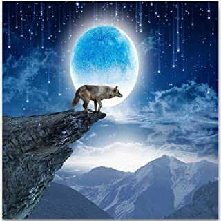 Mural Custom Photo 3D Wallpaper Full Moon Night Mountain Moon Wolf Tv Fondo Mejora De Fondo Murales De Pared Papel Tapiz Para Paredes 3D, 250X175Cm
