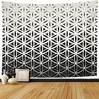 Ahawoso Tapestry Wall Hanging 80x60 Subtle Pattern Abstract Sacred Geometry Black White Gradient Monochrome Flower Life Geometric Home Decor Tapestries Decorative Bedroom Living Room Dorm