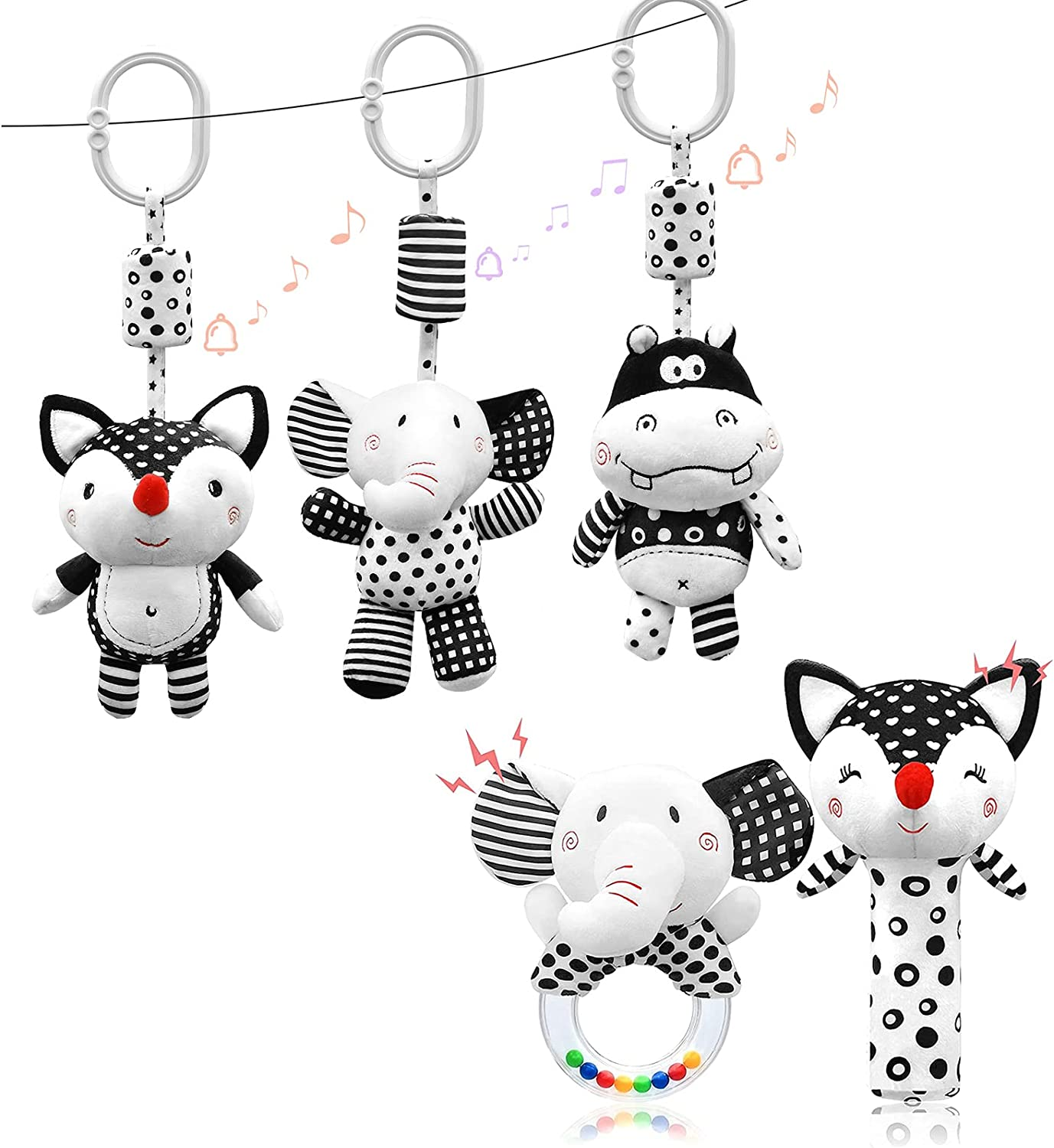 Euyecety Hanging Rattles Toys Black Max 68% OFF and mart Toy Stroller 3 White Pa