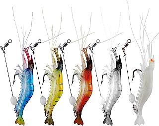 WANBY Luminous Silicone Soft Shrimp Lures Bait Set Kit Swimbait Fishing Lures with Hook Fishing Tackle for Freshwater Salt...